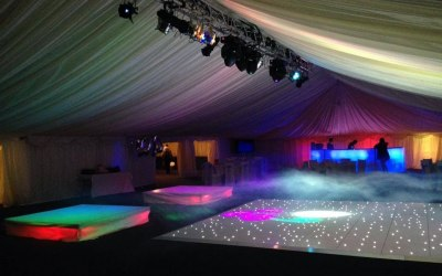 Lighting supplied for a 21st Birthday in a marquee.
