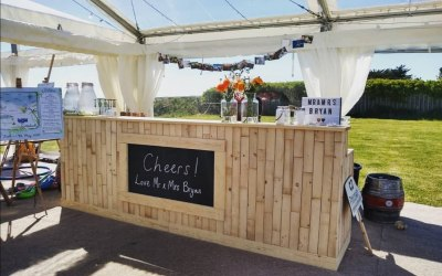 Our natural wood pop up bar