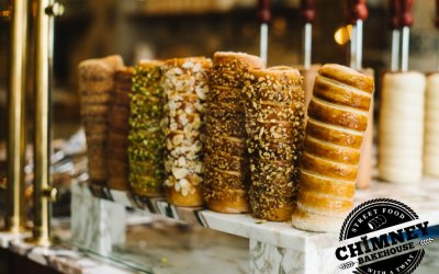 Traditional Chimney Cakes with various coatings