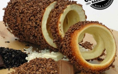 Traditional Chimney Cake Coated in Chocolate