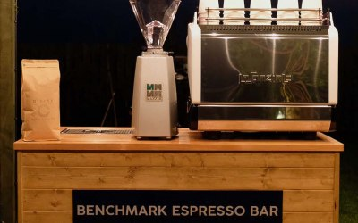 Front view of our mobile coffee bar with our locally sourced and freshly roasted speciality coffee