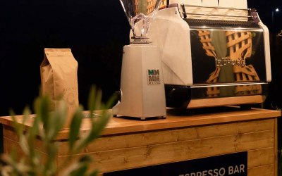Our Mobile Coffee bar complete with La Spaziale S9 coffee machine and coffee grinder