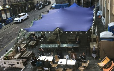 Stretch tent set up
