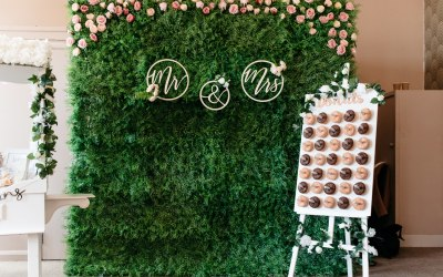 Green Grass Flower Wall,  perfect for baby shower, birthday party, wedding, christening and more