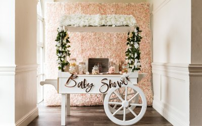 Our beautiful large sweet cart and flower wall set up for baby showers