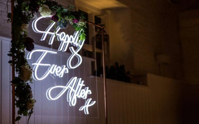 Neon sign for wedding hire