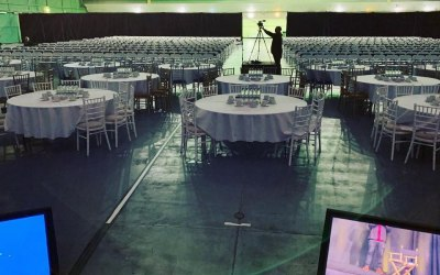 Event set up for Jordan Belfort Tour
