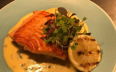 Pan seared Salmon fillet with a champagne and sorrel sauce