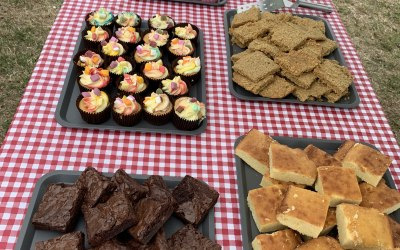 Selection of sweet treats, including gluten free vegan cupcakes