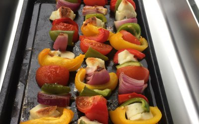 Halloumi and mixed veg skewers
