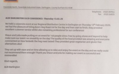 Arecent review from Aldi regional headquarters where we catered for their store managers conference.