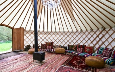 A chill out interior ideal for yurt parties