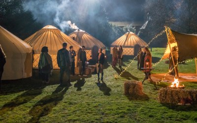 Glamping yurts for BBC production Shakespeare and Hathaway supplied by Roundhouse Yurts