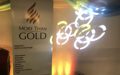 "Lighting & effects provided for ""More Than Gold"" events"