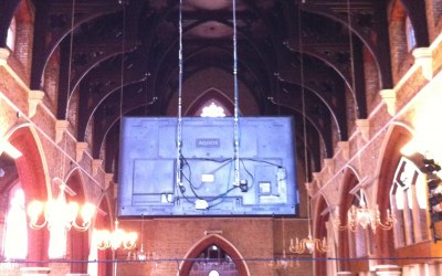 "80"" LED screen installed into SDA, Brixton, rear view."