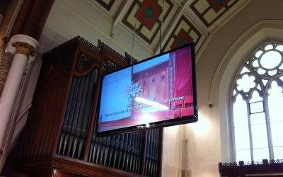 "80"" LED screen installed into SDA, Brixton"