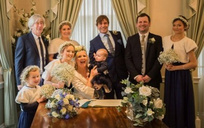 Bride and Groom, Bridesmaids and family