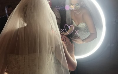 Bride at Luxury Beauty Mirror Booth