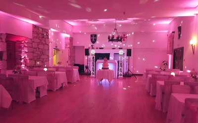 Room Moodlighting in Blush Pink with DJ set up