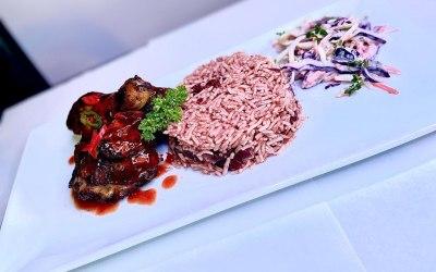 Jerk chicken & rice and peas