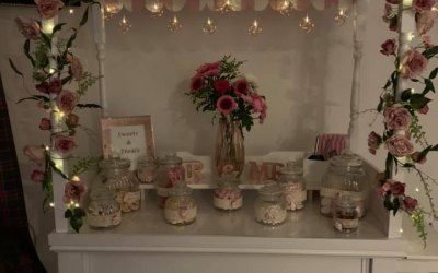 Pretty In Pink Candy Cart - Premium Hand Made cart includes sweets and flowers