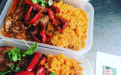 Jollof Rice with beef and red bell peppers with tomato sauce