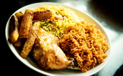 Jollof Rice, Fried Rice, Chicken and Plantain