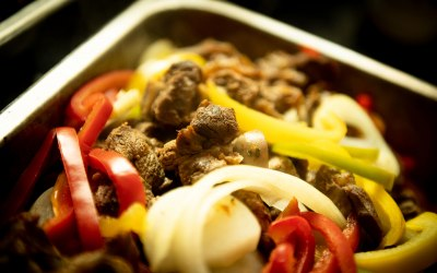 Roast Goat Meat with Mixed Bell Peppers