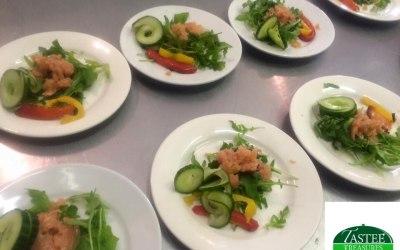 Salad and smoked prawns....yum