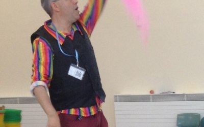 Juggling scarf demonstration.