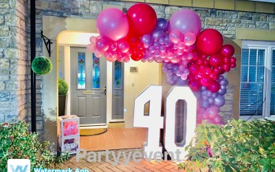 All about the pinks balloons garland and light up numbers