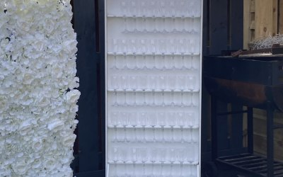 Our Prosecco wall hold 50 plus glasses with come supplied