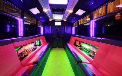 interior of our pink party bus