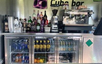 Behind the bar and coffee machine
