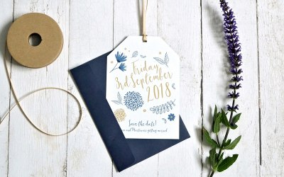 Pretty botanical design save the date tag