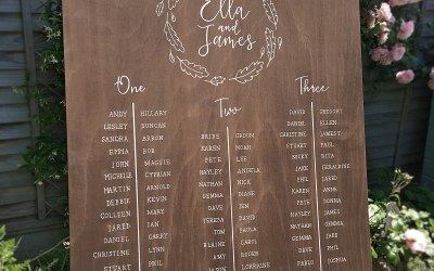 Wooden handwritten table plan
