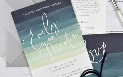 Watercolour striped and vellum invitation