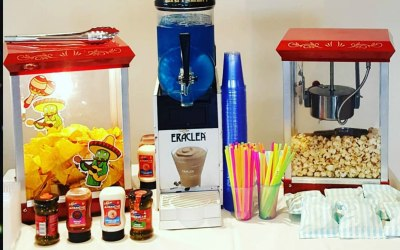 Popcorn, Slush, Candy Floss, Nachos, Hot dogs hire to your party!  https://www.splashinflatables.com/category/party-food#BodyContent