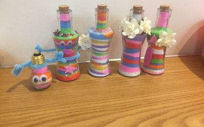The finished products of a bottles and bulbs workshop