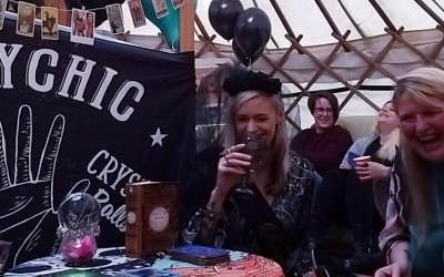 Crsytal ball and fortune telling in tent