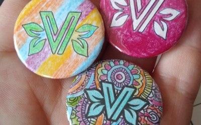 Custom badges for V In The Park, using their logo.