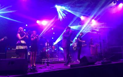 Festival stage, sound, lighting