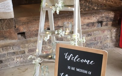Decorated ladder with personalised sign