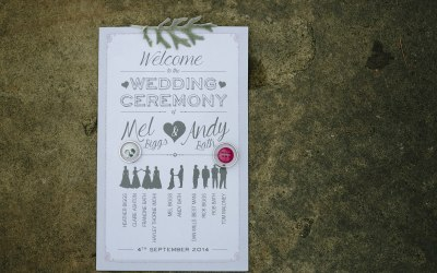 Ceremony card design featuring bridal party information