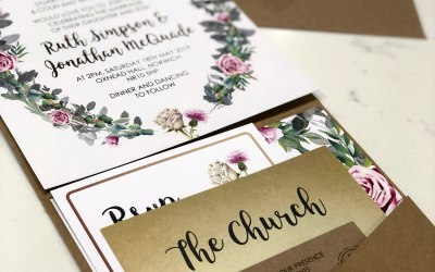 Gold foiled text with pretty floral elements