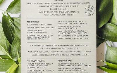 Typographic menu design