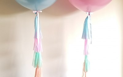 Giant latex balloons with tassel tails
