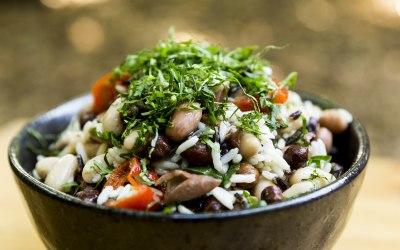 Vegan lentil and quinoa Super food salad.