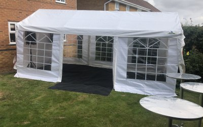White 6m x 3m Gazebo with Carpet and Bar Tables
