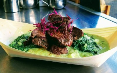 Ostrich Steak with Nutmeg Creamed Spinach and Miele Meal
